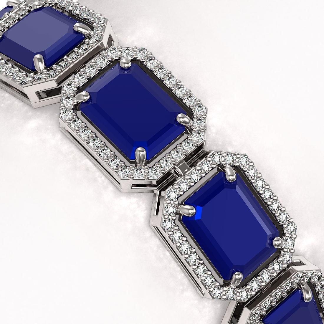 38.61 CTW Sapphire & Diamond Halo Bracelet 10K White - 3