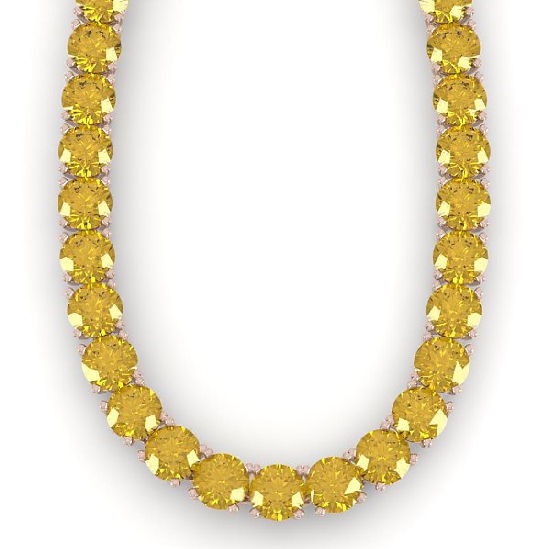 30 CTW Certified Fancy Yellow SI Diamond Necklace 14K - 2