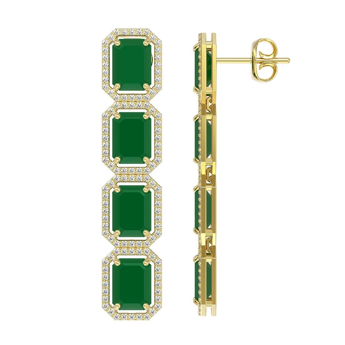 20.59 CTW Emerald & Diamond Halo Earrings 10K Yellow - 2