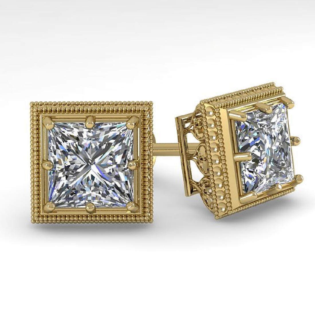 2 CTW VS/SI Princess Diamond Stud Earrings 18K Yellow