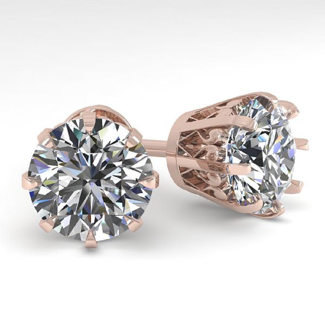 4 CTW VS/SI Diamond Stud Solitaire Earrings 18K Rose