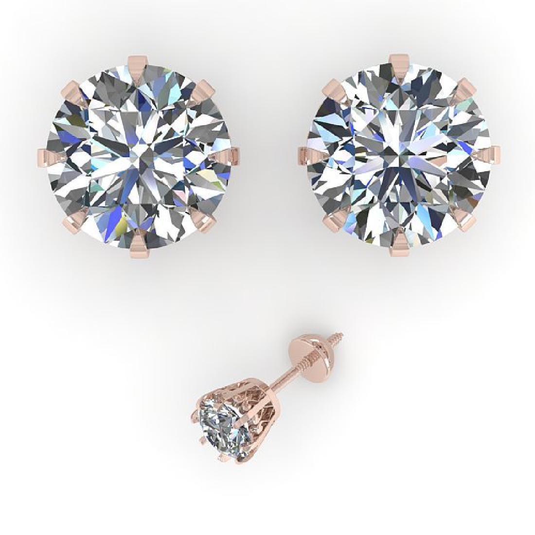 4 CTW VS/SI Diamond Stud Solitaire Earrings 18K Rose - 2