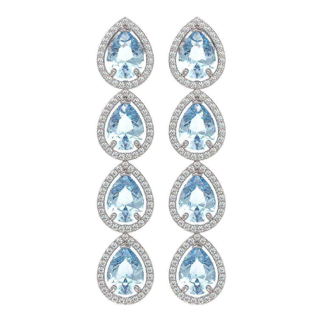 10.56 CTW Aquamarine & Diamond Halo Earrings 10K White