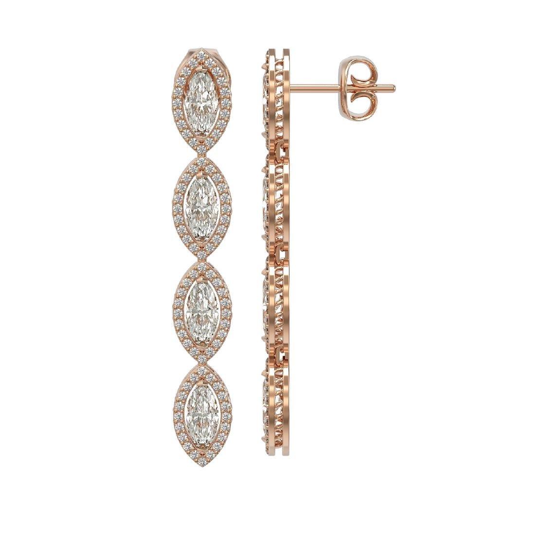6.08 CTW Marquise Diamond Designer Earrings 18K Rose