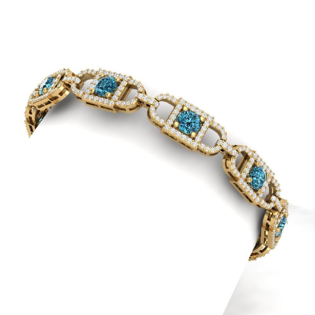 8 CTW SI/I Intense Blue And White Diamond Bracelet 18K