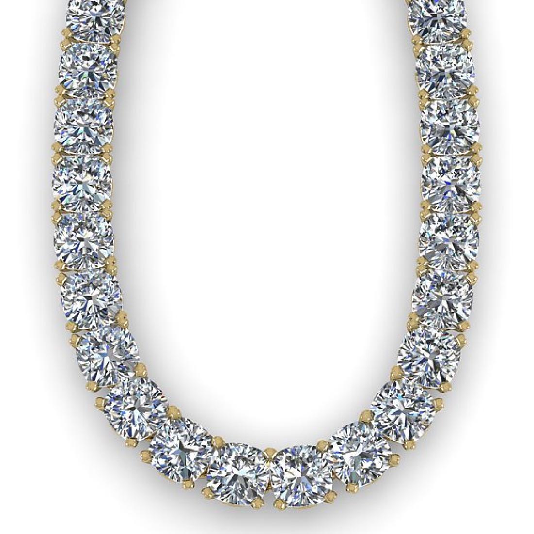 35 CTW Cushion Cut Certified SI Diamond Necklace 18K - 2