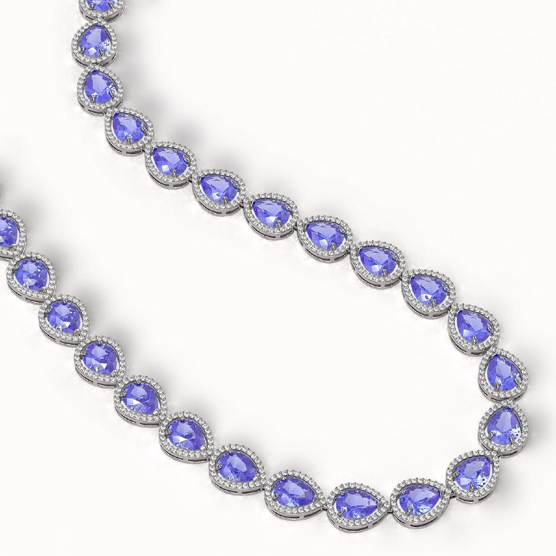44.8 CTW Tanzanite & Diamond Halo Necklace 10K White