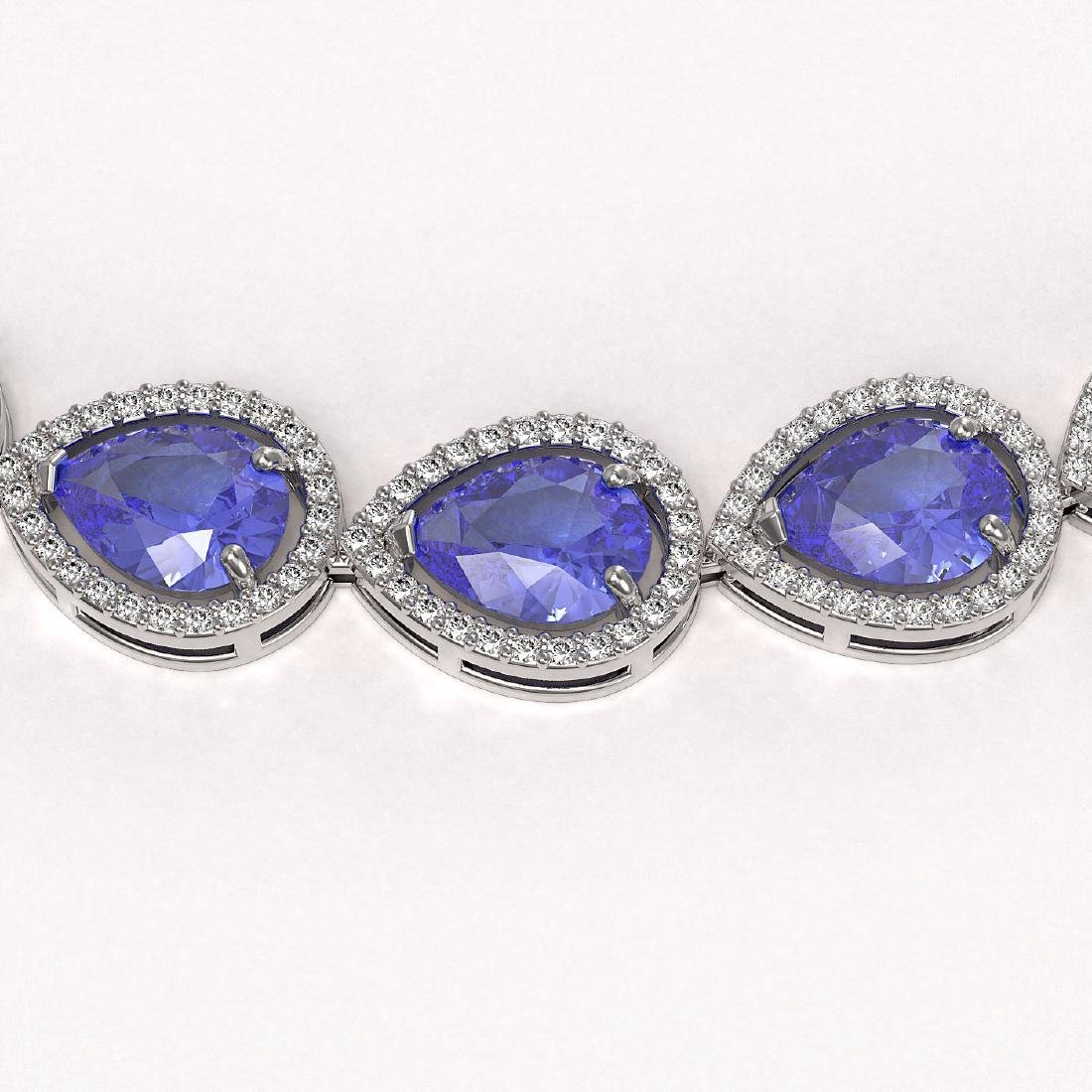 44.8 CTW Tanzanite & Diamond Halo Necklace 10K White - 2