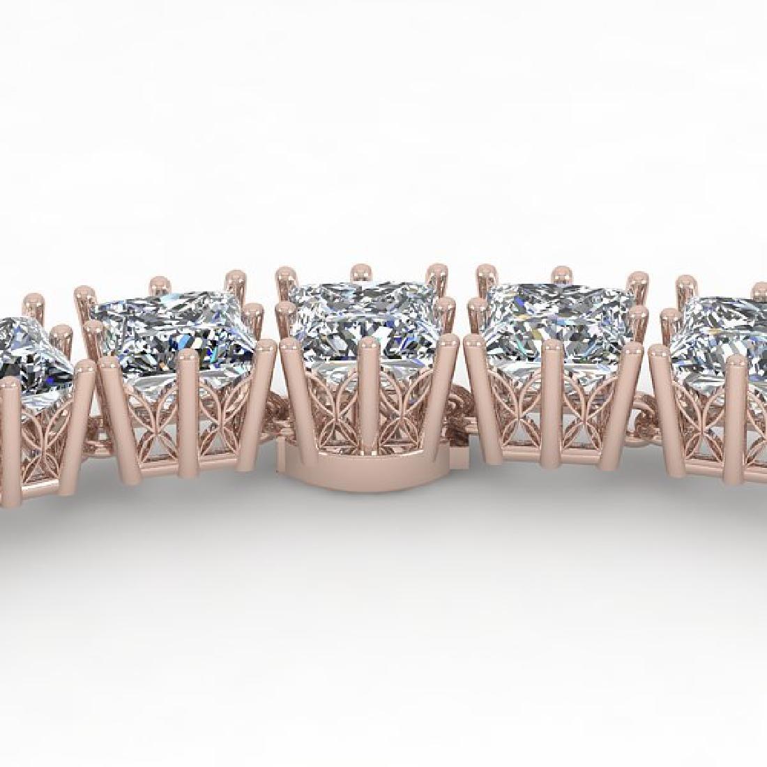 40 CTW Princess SI Diamond Necklace 18K Rose Gold