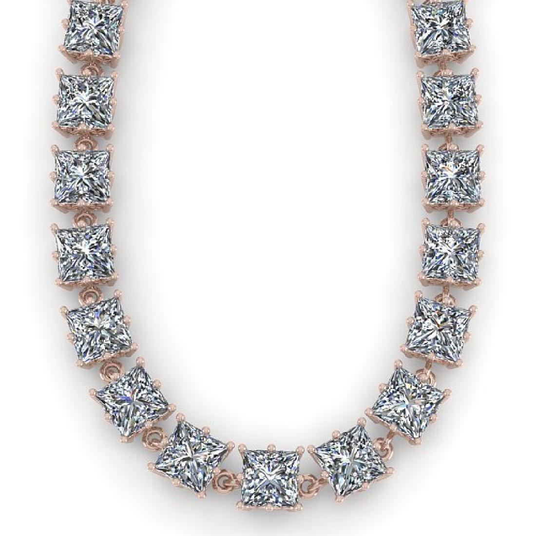 40 CTW Princess SI Diamond Necklace 18K Rose Gold - 2