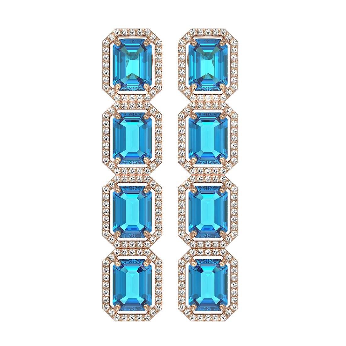 18.99 CTW Swiss Topaz & Diamond Halo Earrings 10K Rose