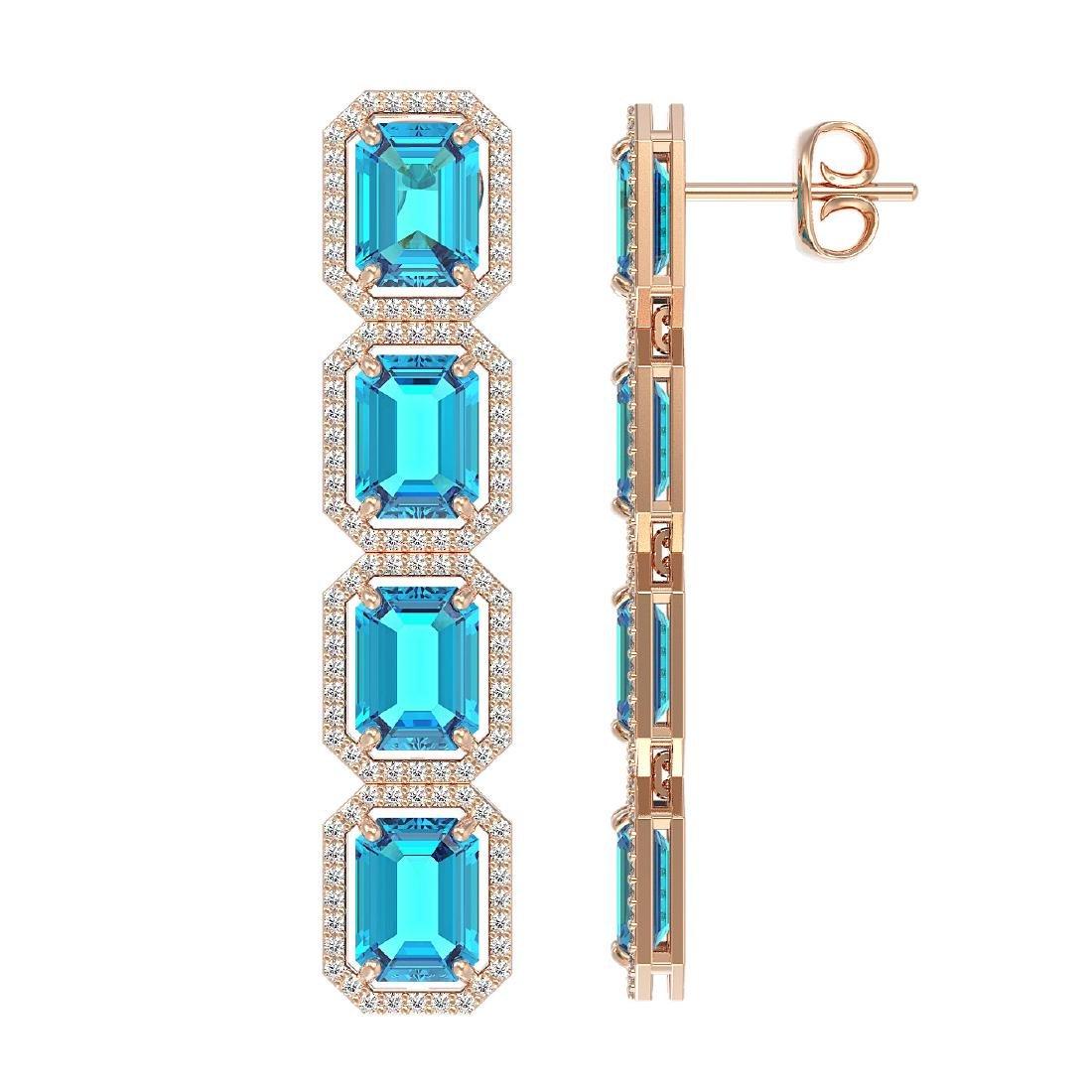18.99 CTW Swiss Topaz & Diamond Halo Earrings 10K Rose - 2