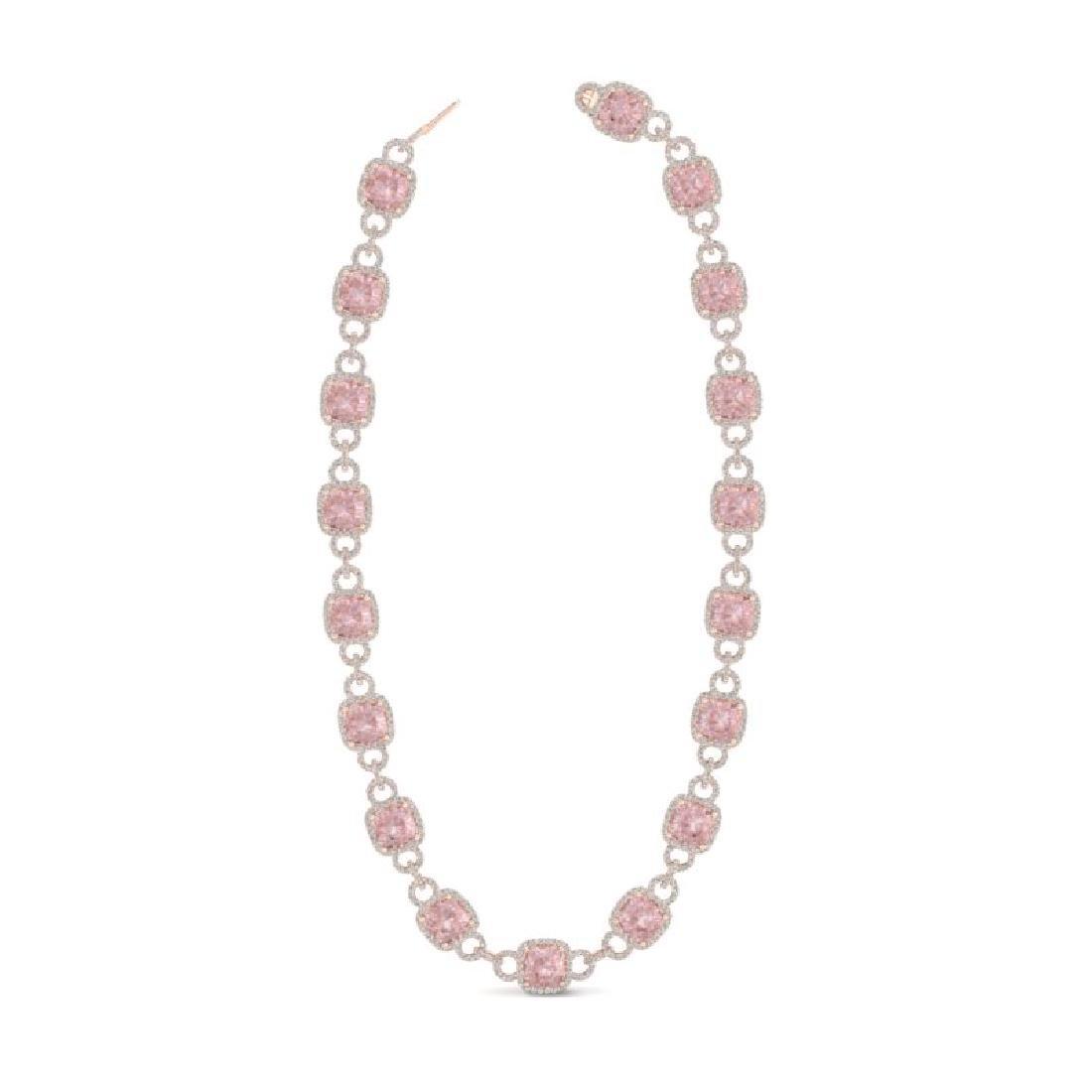 49 CTW Morganite & VS/SI Diamond Necklace 14K Rose Gold