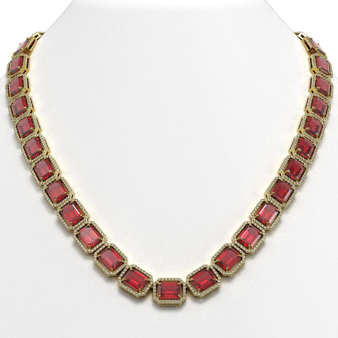 80.32 CTW Tourmaline & Diamond Halo Necklace 10K Yellow