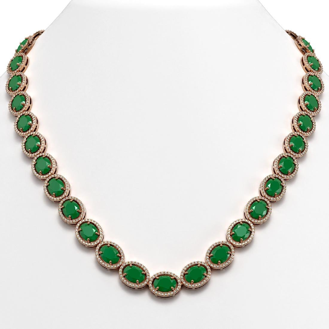 71.87 CTW Emerald & Diamond Halo Necklace 10K Rose Gold