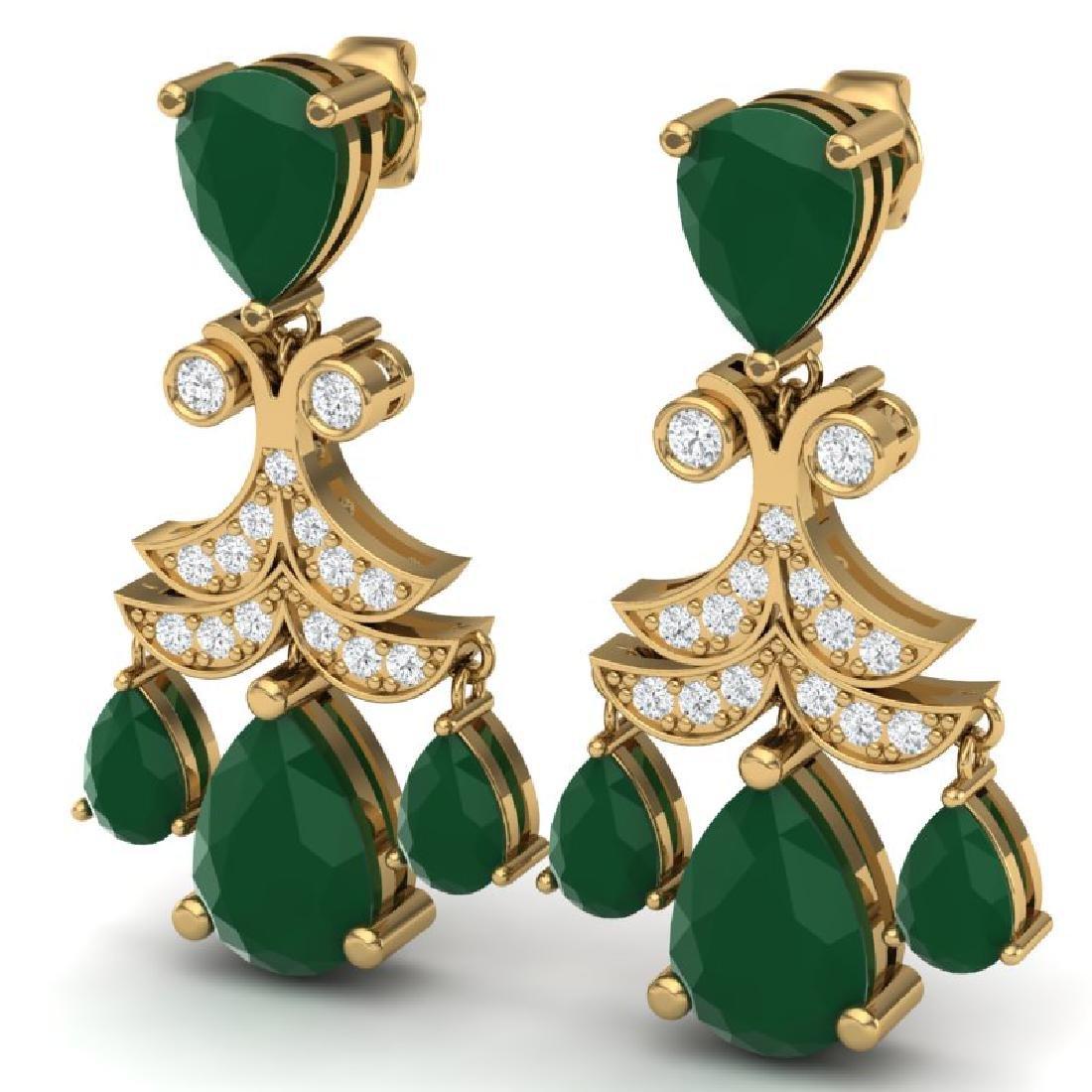 11.97 CTW Royalty Emerald & VS Diamond Earrings 18K - 2
