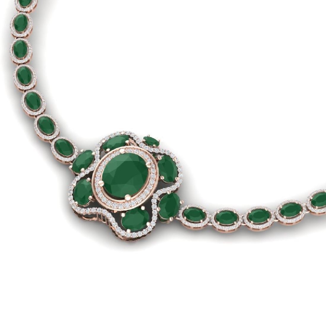 47.43 CTW Royalty Emerald & VS Diamond Necklace 18K