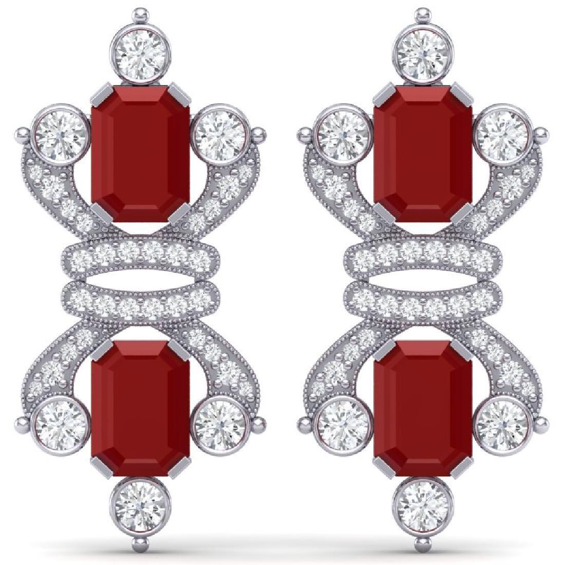 27.36 CTW Royalty Designer Ruby & VS Diamond Earrings