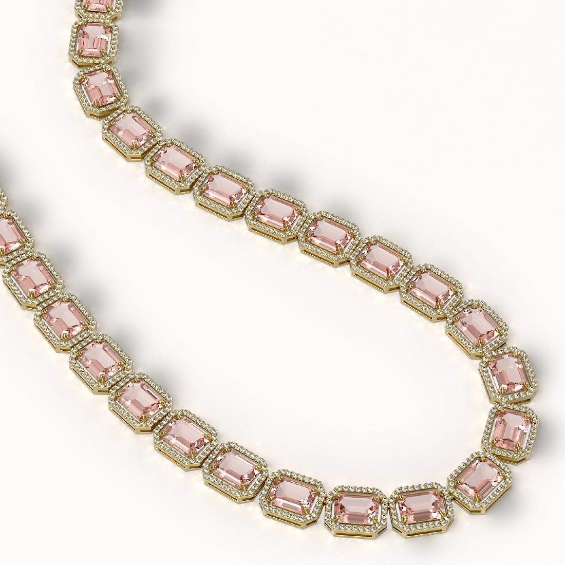 81.64 CTW Morganite & Diamond Halo Necklace 10K Yellow