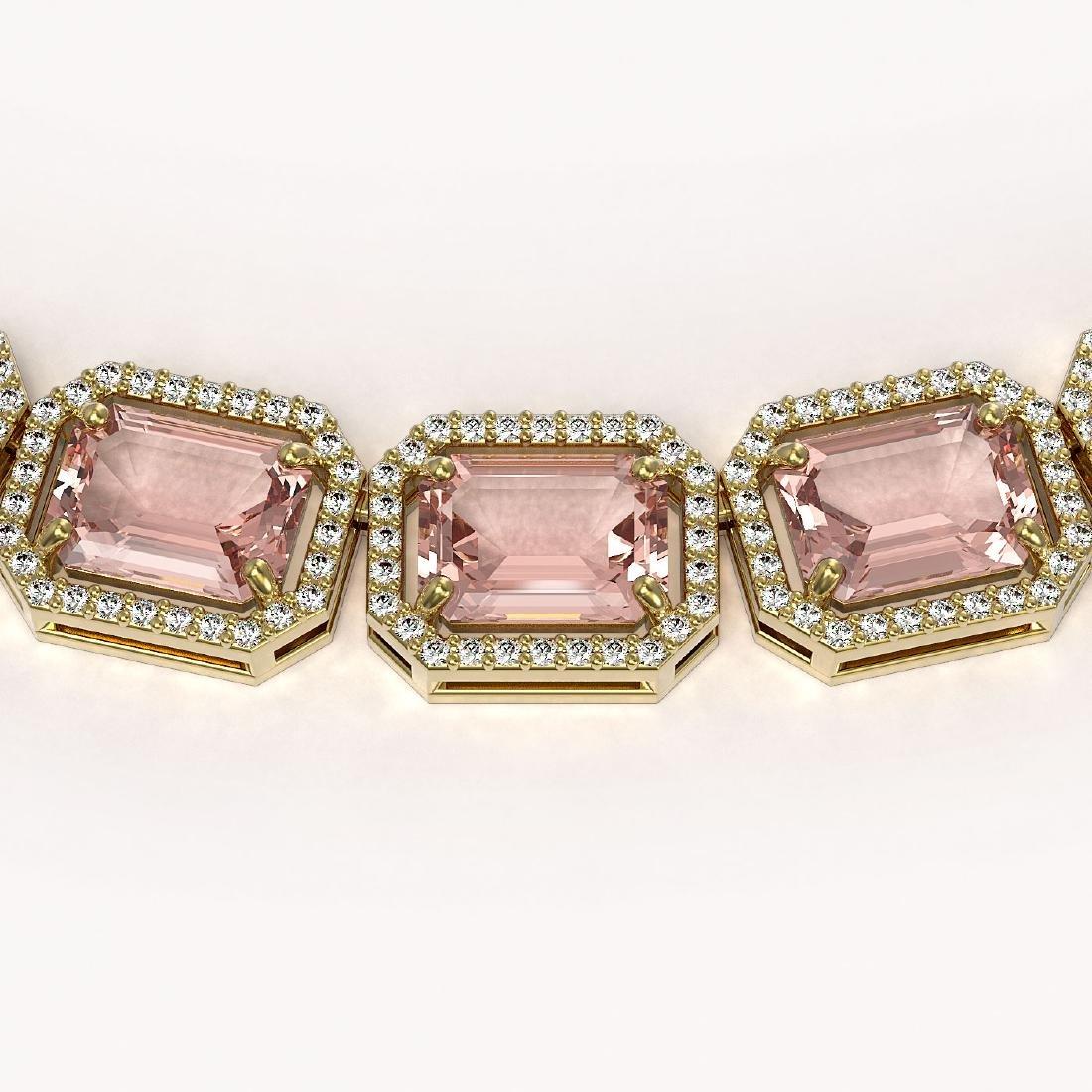 81.64 CTW Morganite & Diamond Halo Necklace 10K Yellow - 2