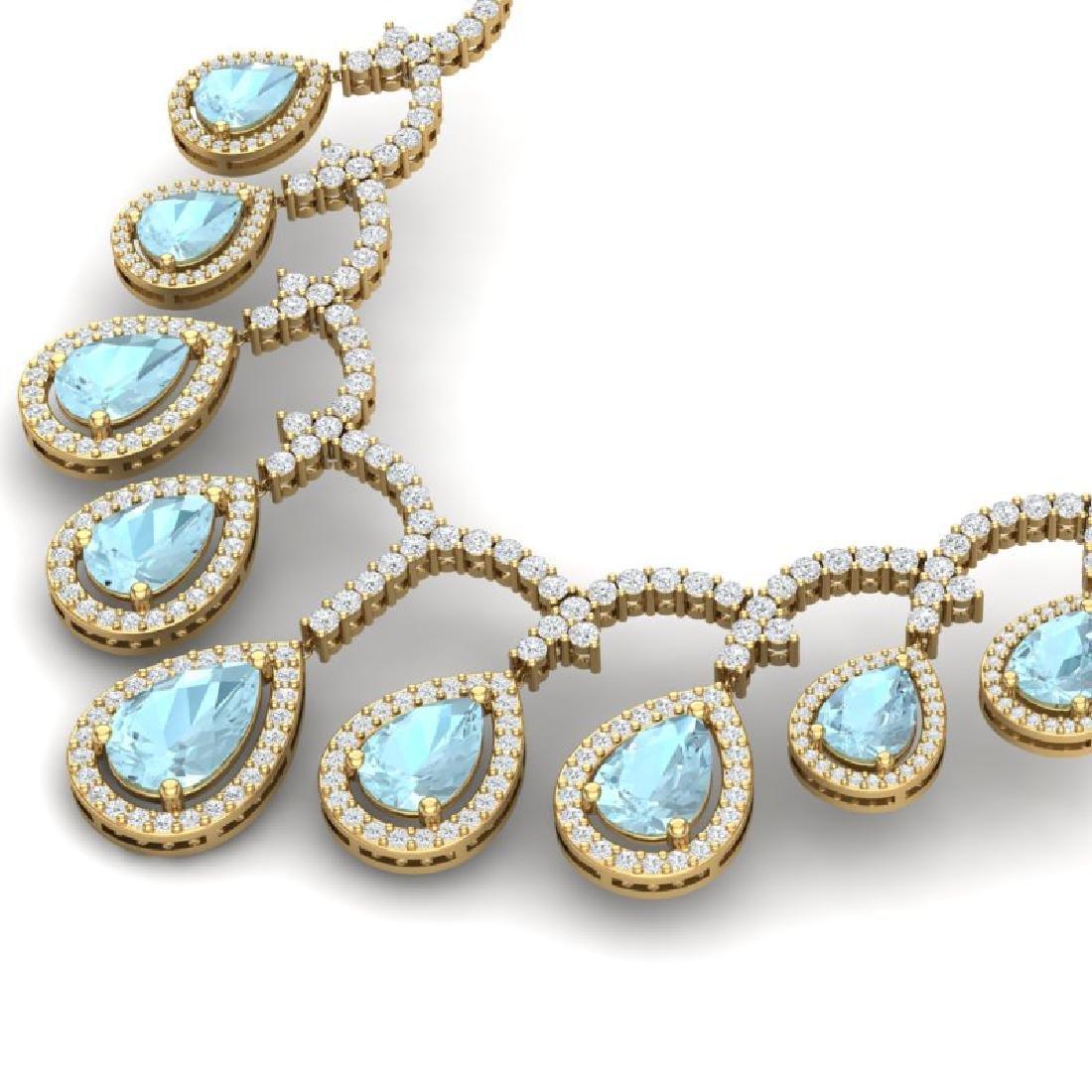 32.62 CTW Royalty Sky Topaz & VS Diamond Necklace 18K