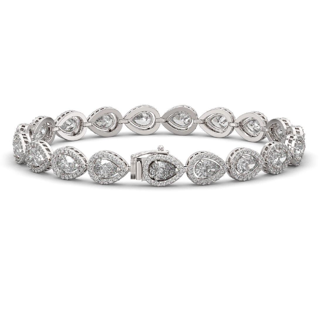 14.28 CTW Pear Diamond Designer Bracelet 18K White Gold - 2