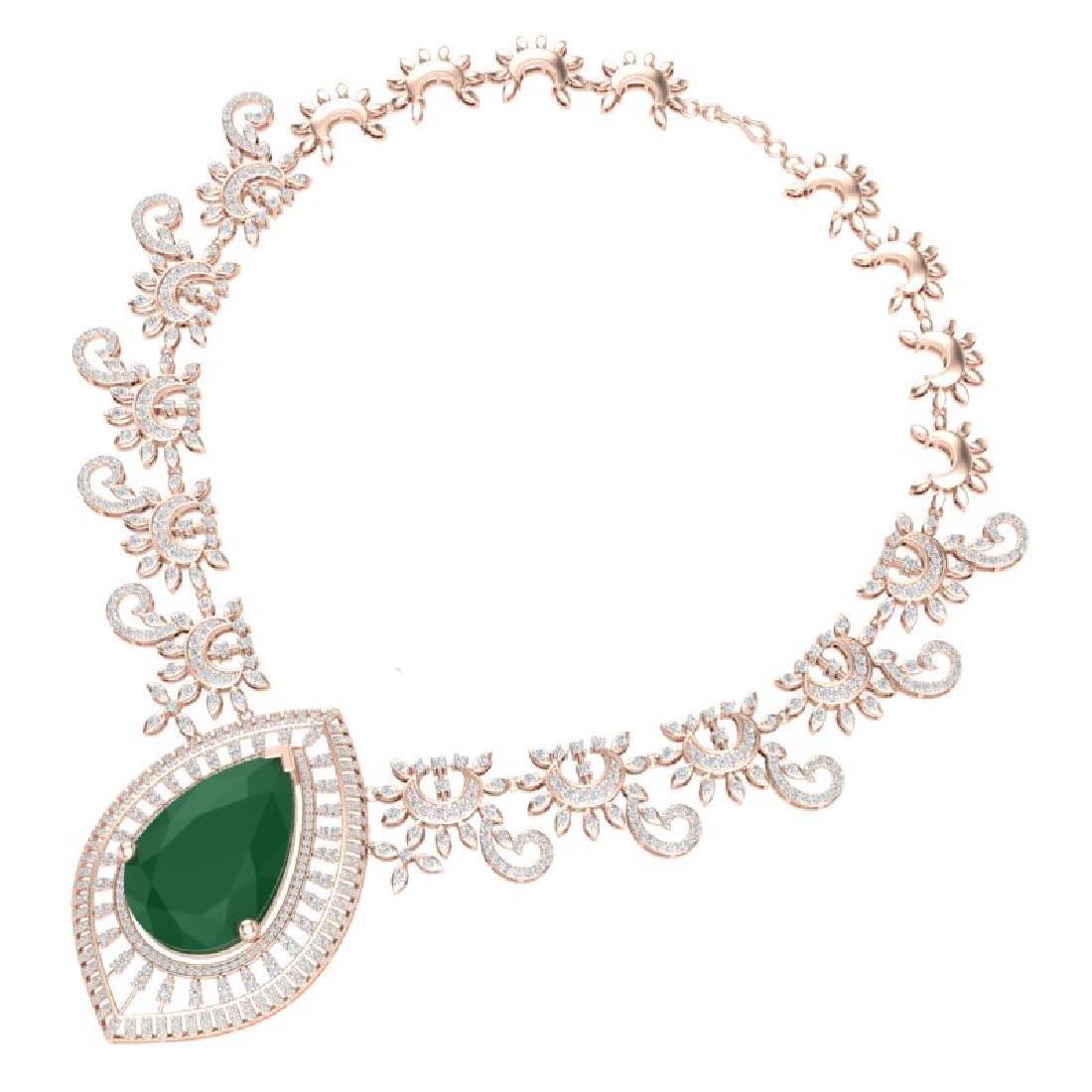 65.75 CTW Royalty Emerald & VS Diamond Necklace 18K - 2