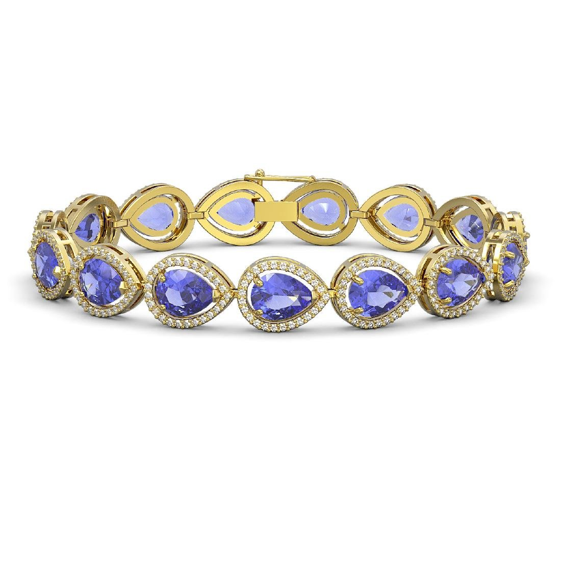 21.06 CTW Tanzanite & Diamond Halo Bracelet 10K Yellow