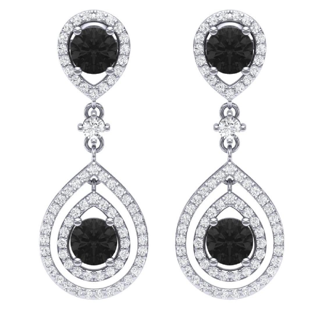 3.62 CTW Certified Black VS Diamond Earrings 18K White