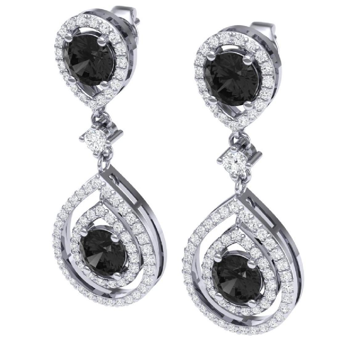 3.62 CTW Certified Black VS Diamond Earrings 18K White - 2
