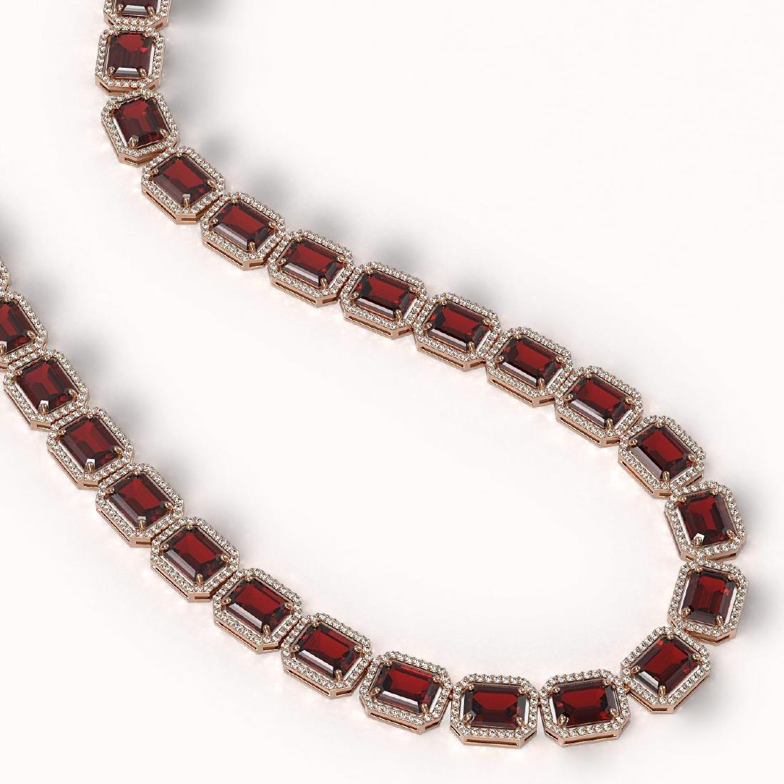 73.44 CTW Garnet & Diamond Halo Necklace 10K Rose Gold - 2
