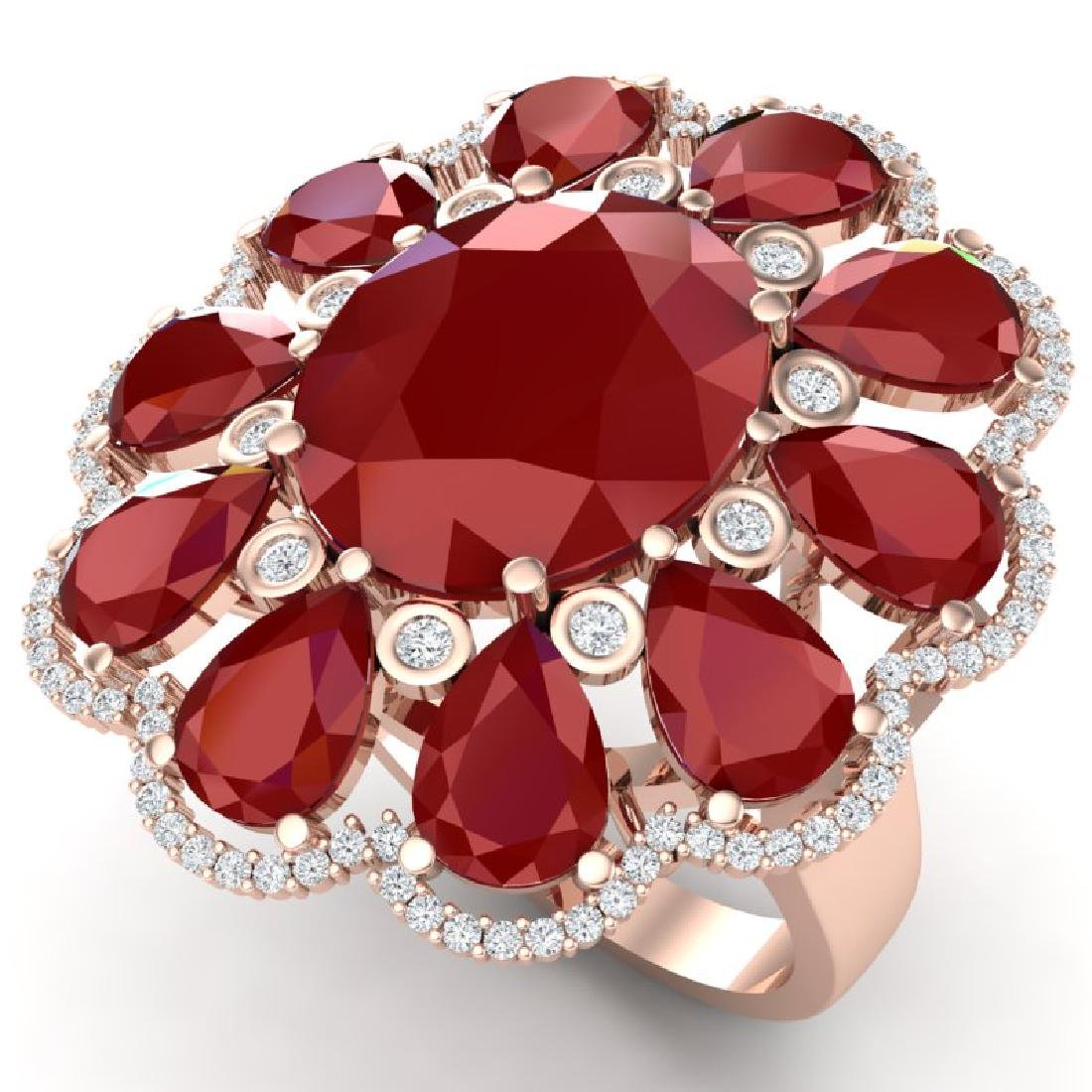 20.63 CTW Royalty Designer Ruby & VS Diamond Ring 18K