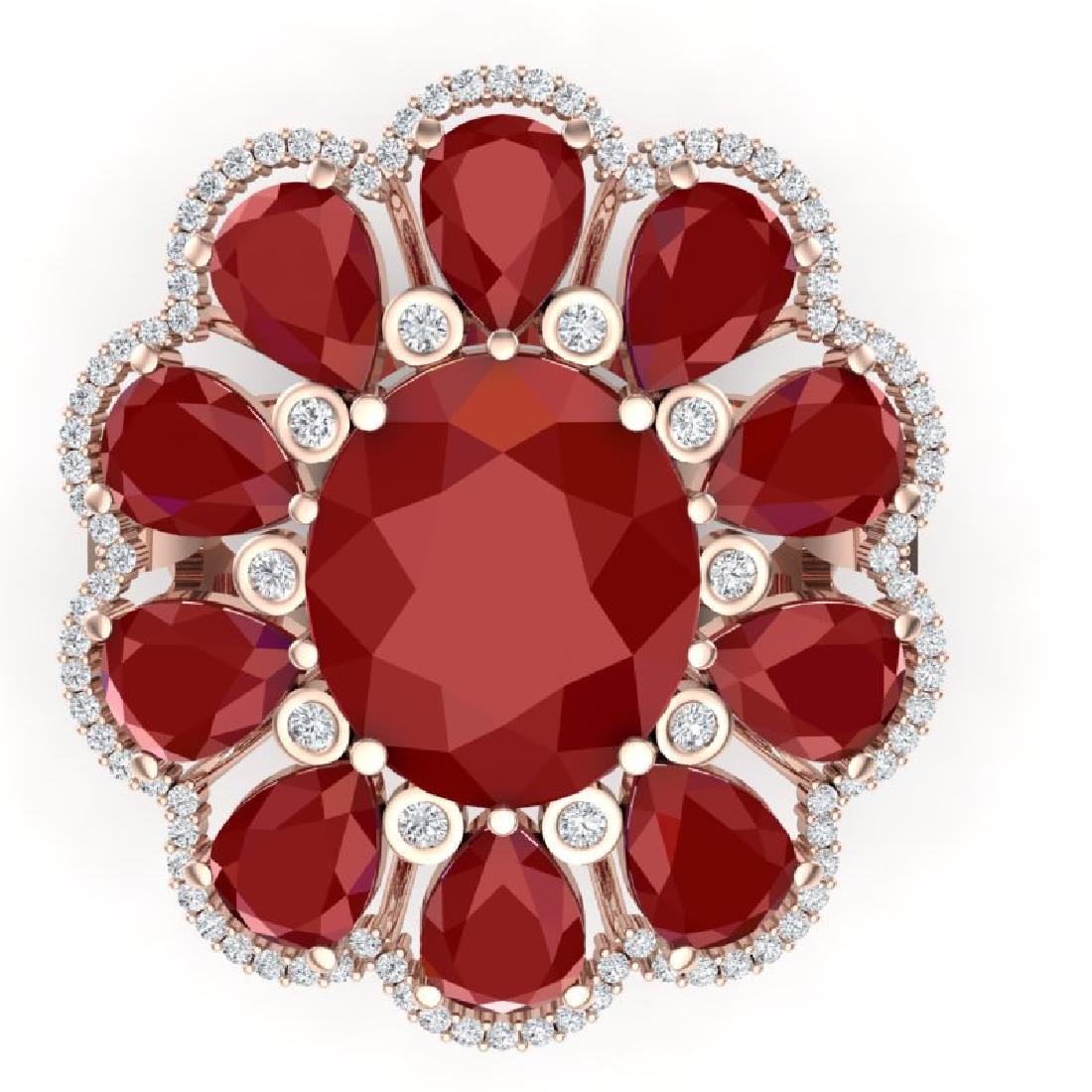 20.63 CTW Royalty Designer Ruby & VS Diamond Ring 18K - 2