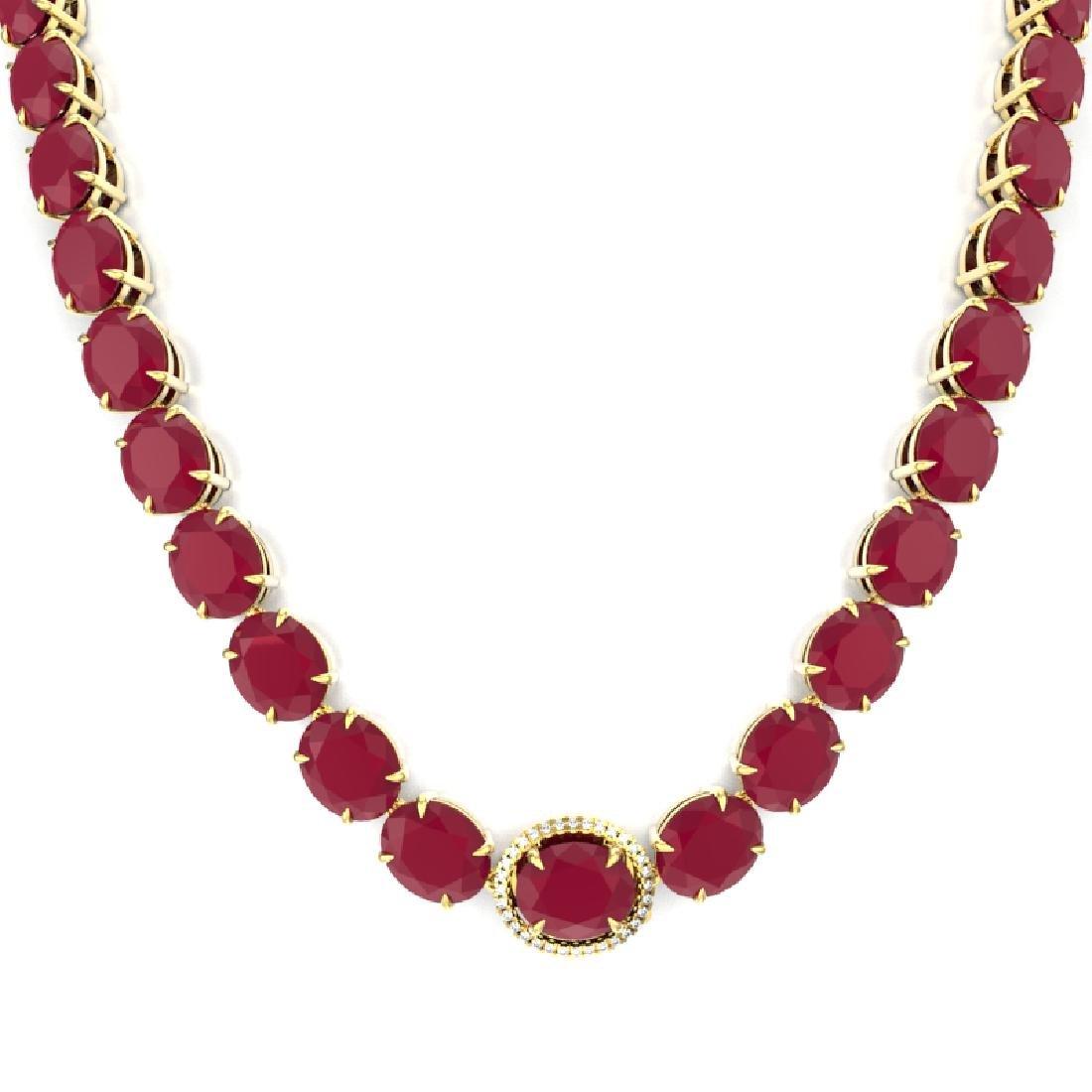 170 CTW Ruby & VS/SI Diamond Necklace 14K Yellow Gold - 2