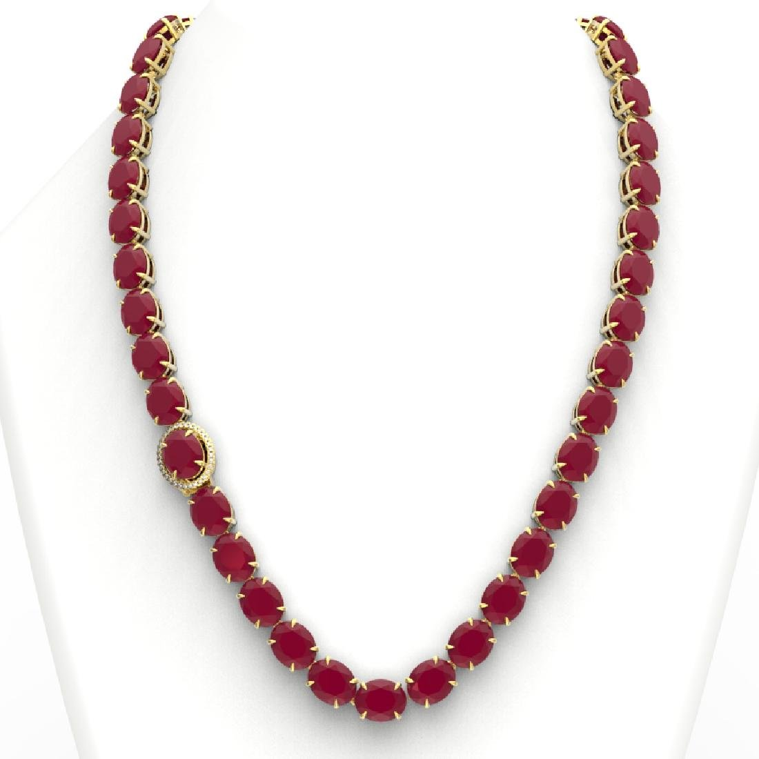 170 CTW Ruby & VS/SI Diamond Necklace 14K Yellow Gold - 3