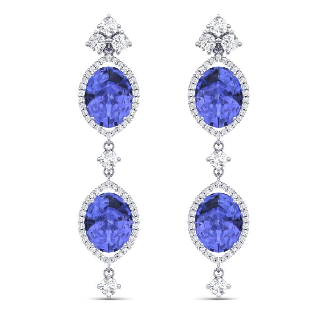 16.21 CTW Royalty Tanzanite & VS Diamond Earrings 18K