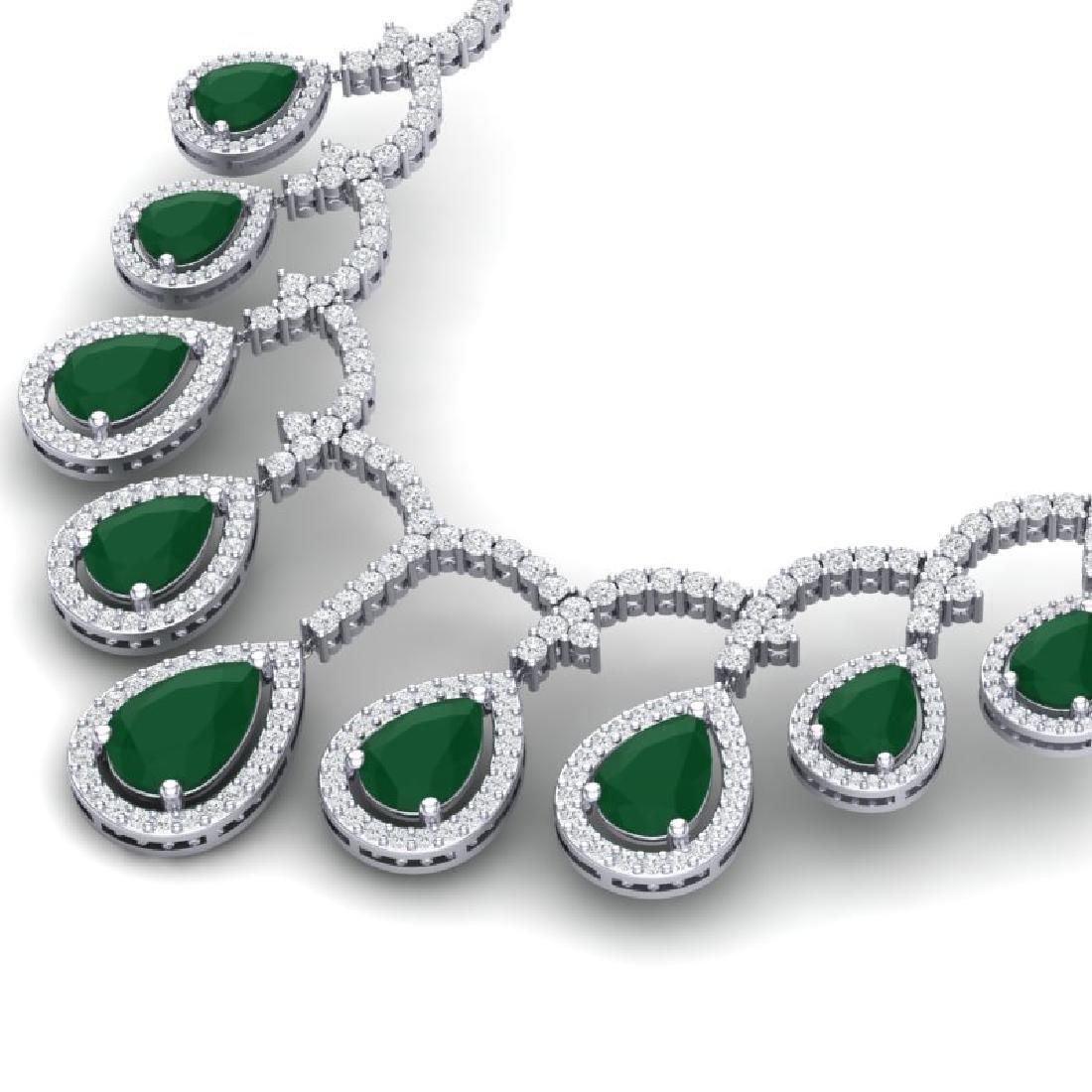 31.5 CTW Royalty Emerald & VS Diamond Necklace 18K - 2