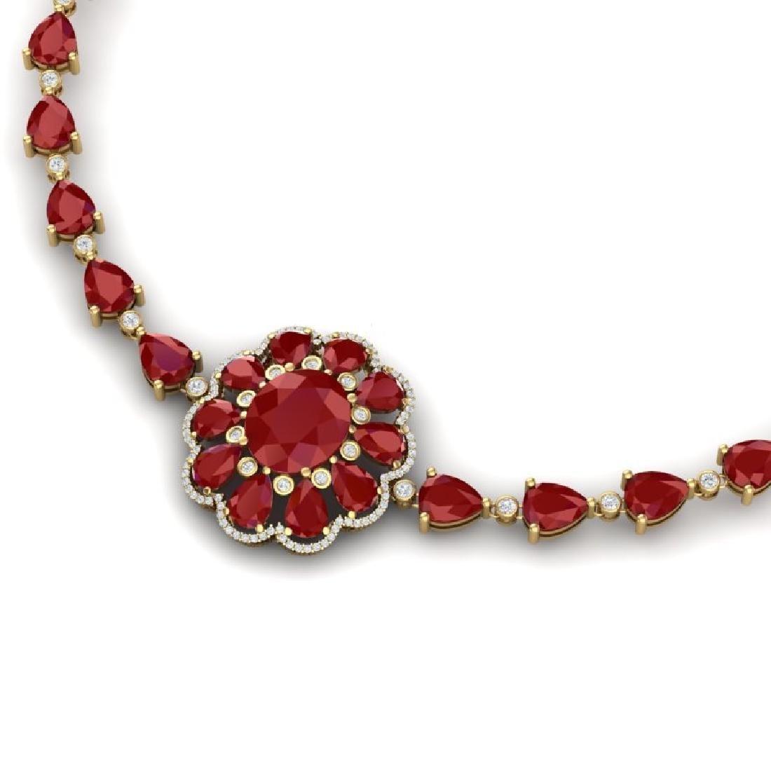 78.98 CTW Royalty Ruby & VS Diamond Necklace 18K Yellow