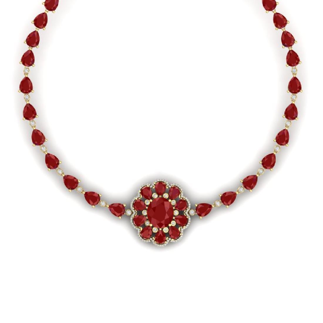 78.98 CTW Royalty Ruby & VS Diamond Necklace 18K Yellow - 2