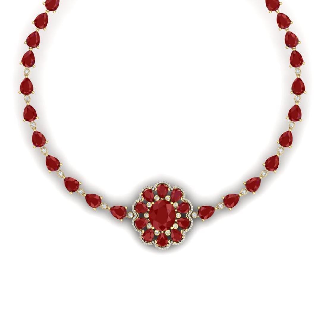 78.98 CTW Royalty Ruby & VS Diamond Necklace 18K Yellow - 2