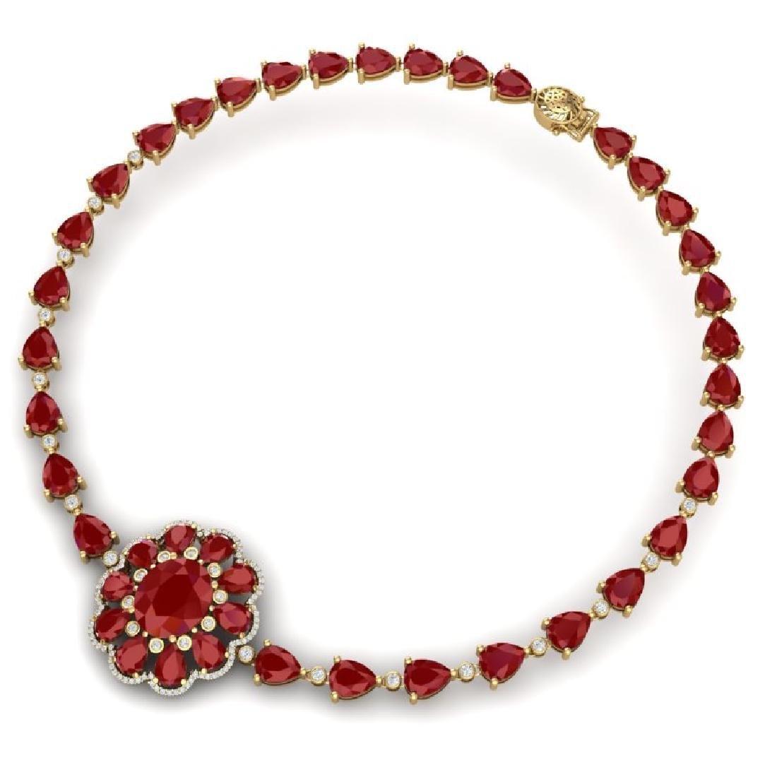 78.98 CTW Royalty Ruby & VS Diamond Necklace 18K Yellow - 3