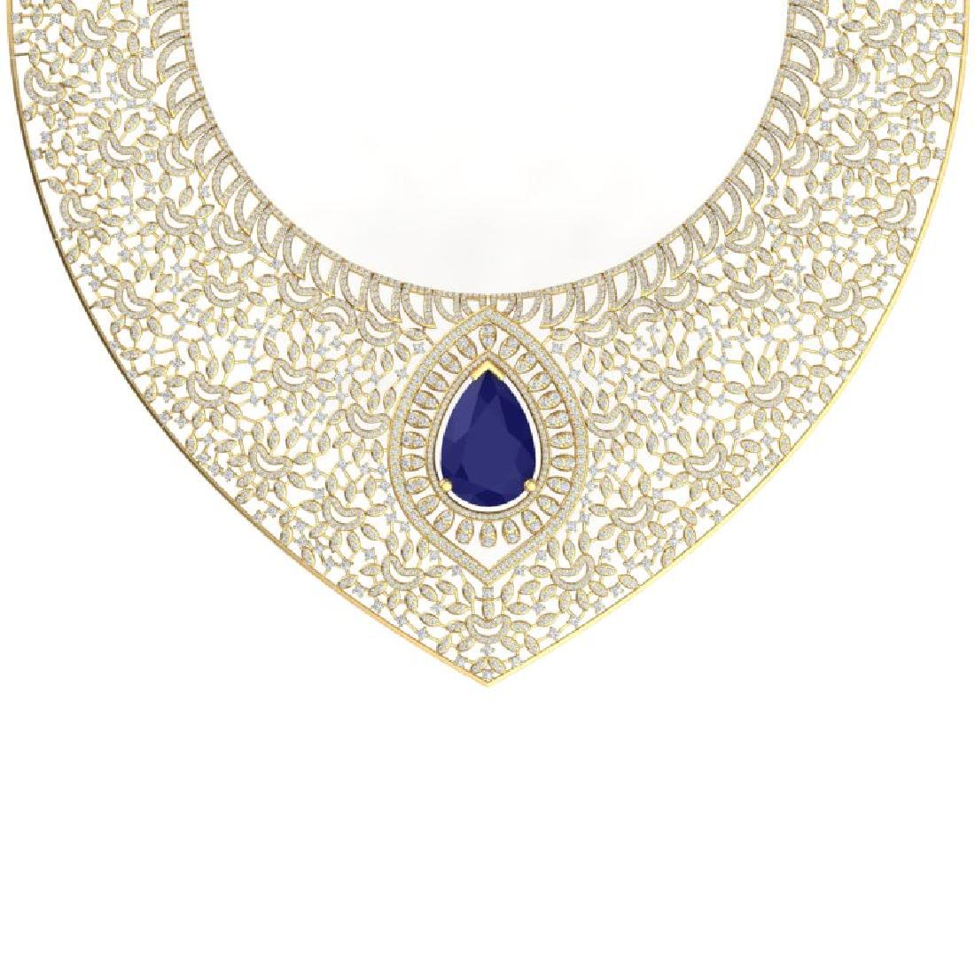 63.93 CTW Royalty Sapphire & VS Diamond Necklace 18K - 2