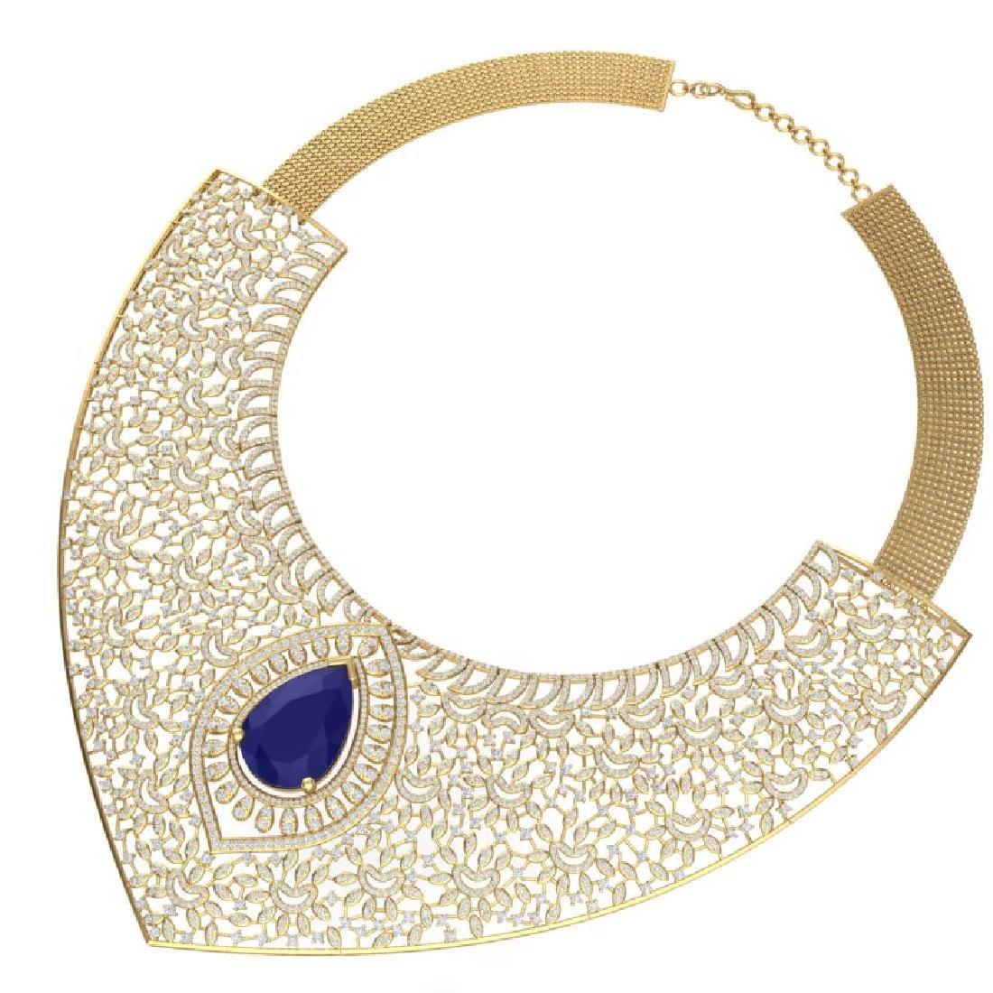 63.93 CTW Royalty Sapphire & VS Diamond Necklace 18K - 3