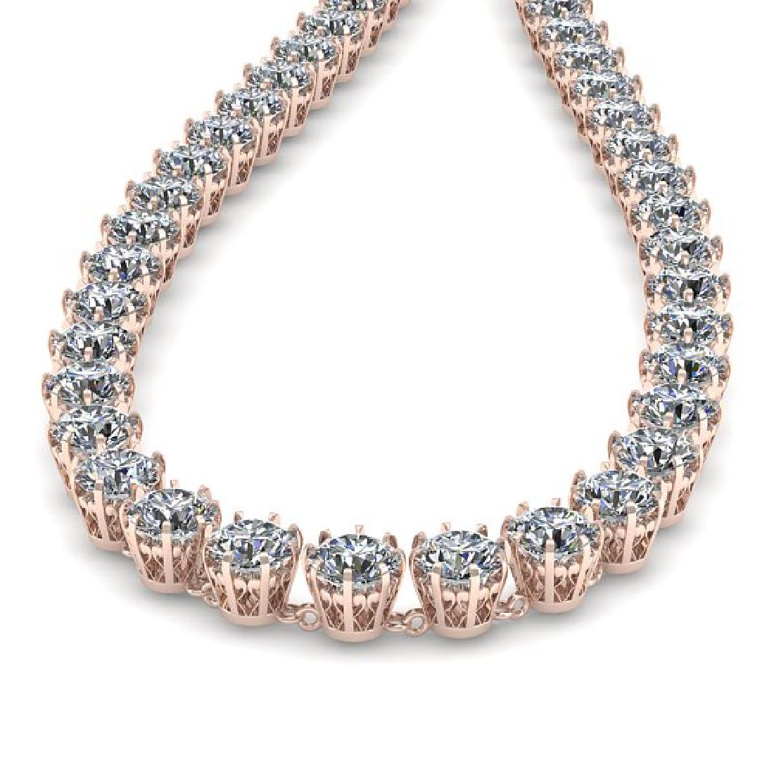 40 CTW SI Certified Diamond Necklace 18K Rose Gold - 2