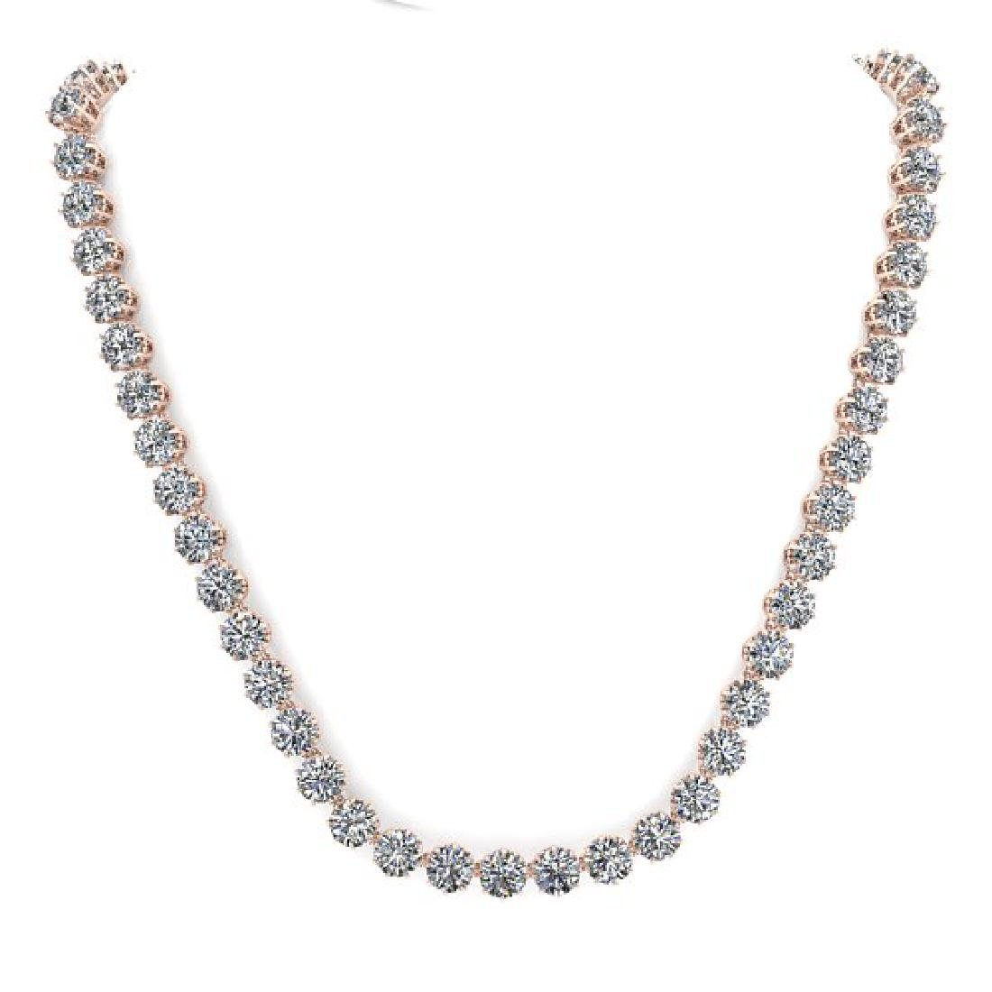 40 CTW SI Certified Diamond Necklace 18K Rose Gold - 3