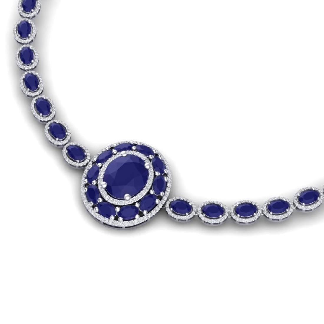 43.54 CTW Royalty Sapphire & VS Diamond Necklace 18K