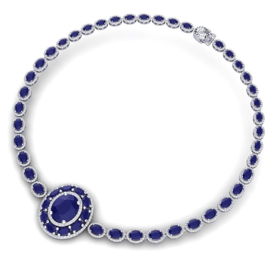 43.54 CTW Royalty Sapphire & VS Diamond Necklace 18K - 3