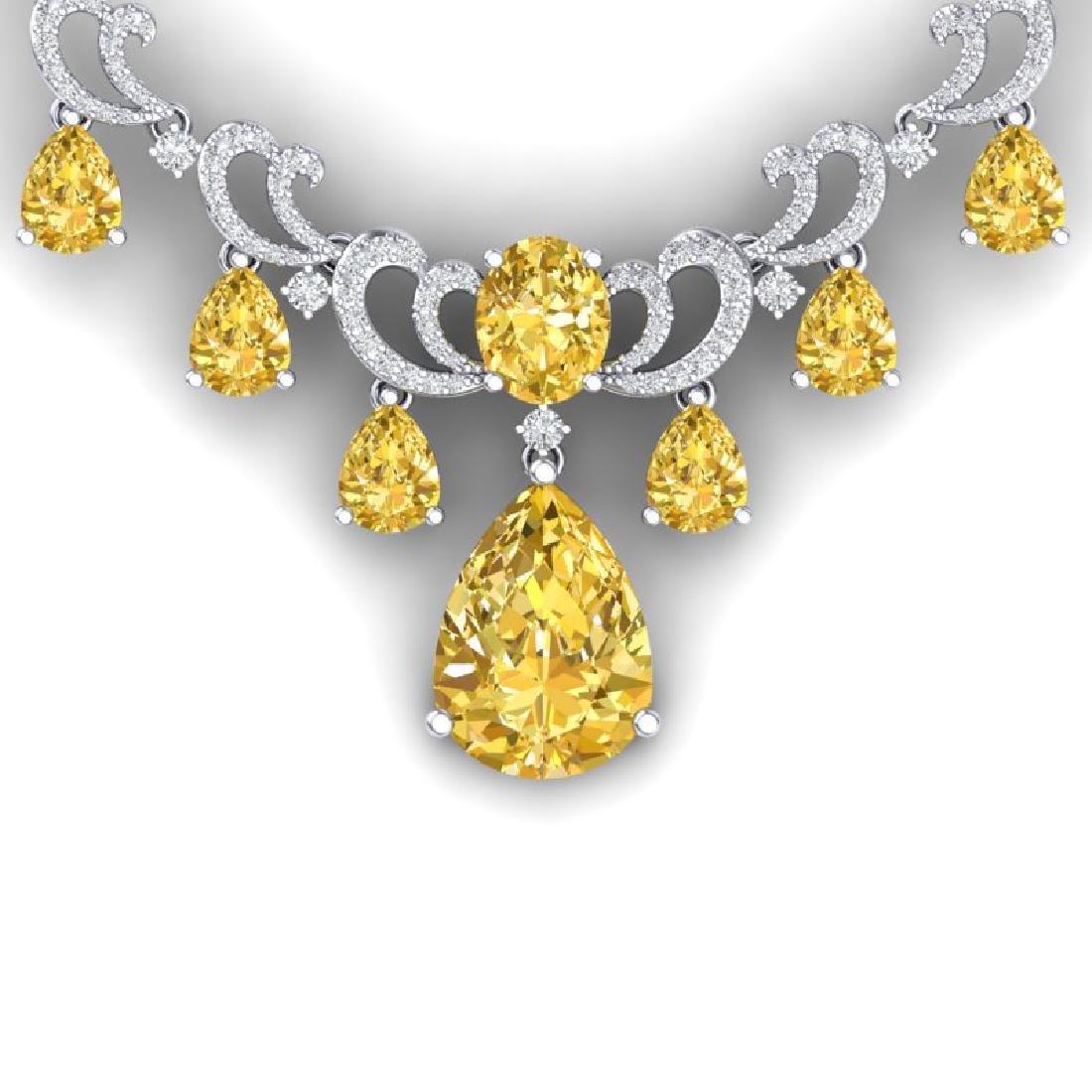 33.38 CTW Royalty Canary Citrine & VS Diamond Necklace