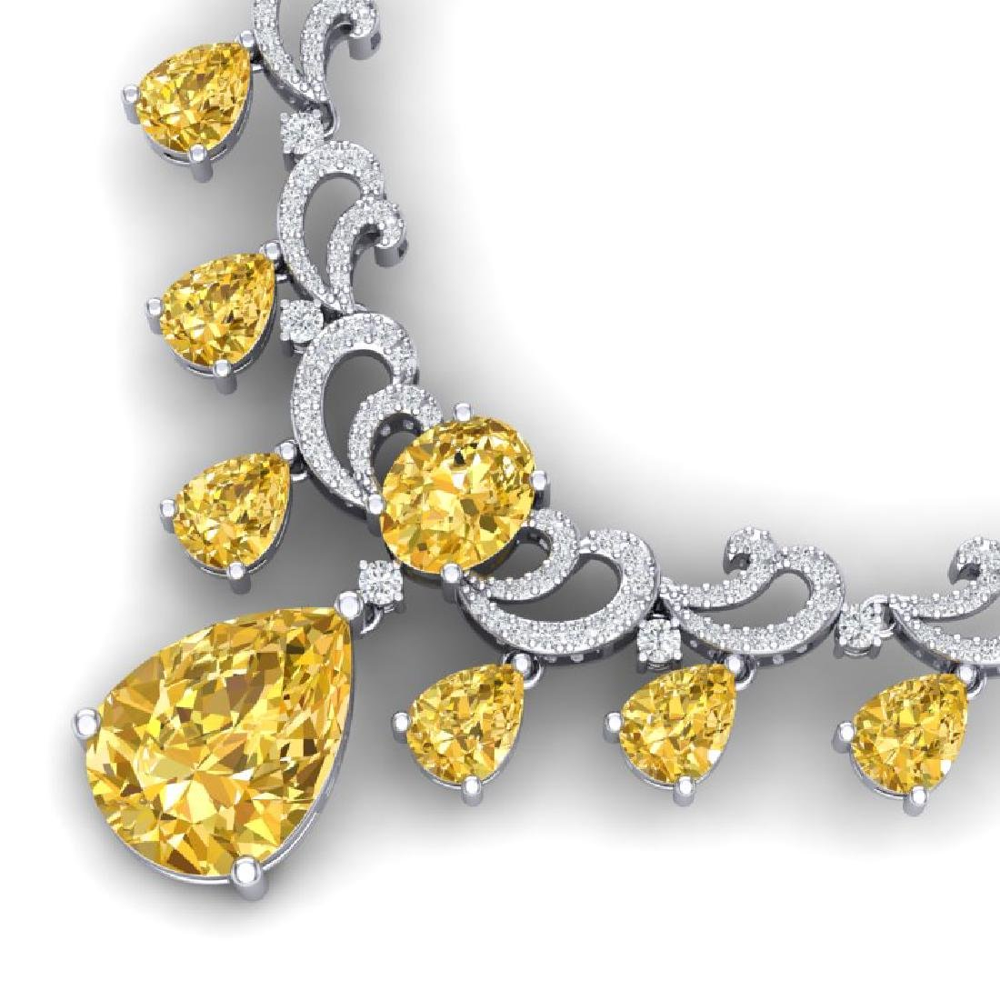33.38 CTW Royalty Canary Citrine & VS Diamond Necklace - 2