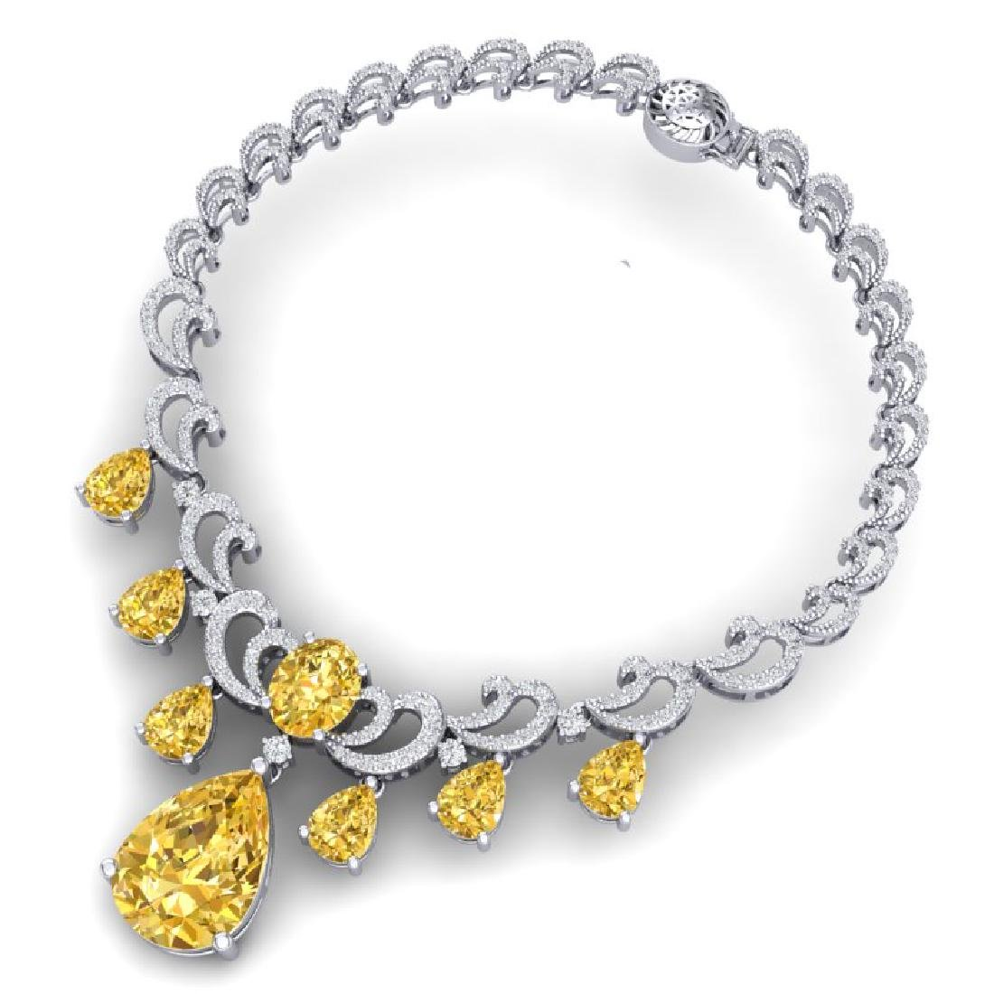 33.38 CTW Royalty Canary Citrine & VS Diamond Necklace - 3